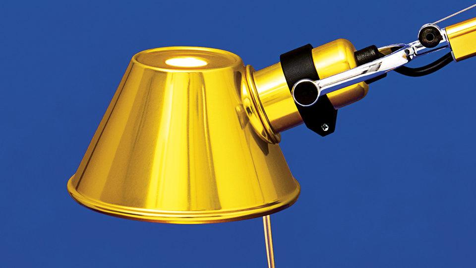 Artemide Tolomeo bureaulamp goud detail